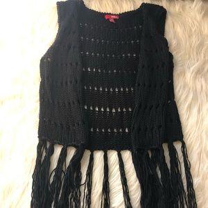 Bongo XL Black Knit Festival Vest